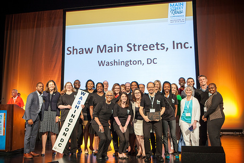 Members of Shaw Main Streets, Inc. accepting the 2016 Great American Main Street Award.