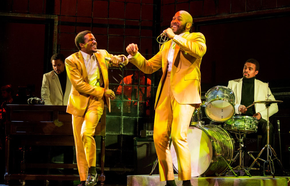 SOUL The Stax Musical at Baltimore Center Stage, Pictured: David LaMarr, Trevon Davis, Boise Holmes, and Kyle Mary Photo: Bill Geenen