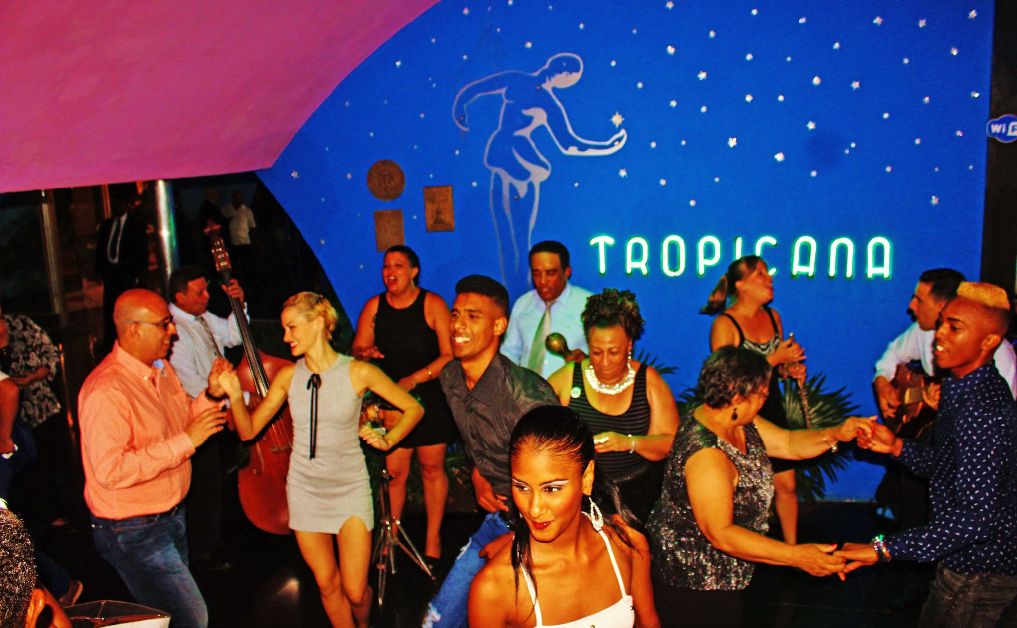The Tropicana Cabaret experience starts in the lobby entrance as members of the troupe greet visitors with an invitation to salsa as they wait in the Que to enter the cabaret.