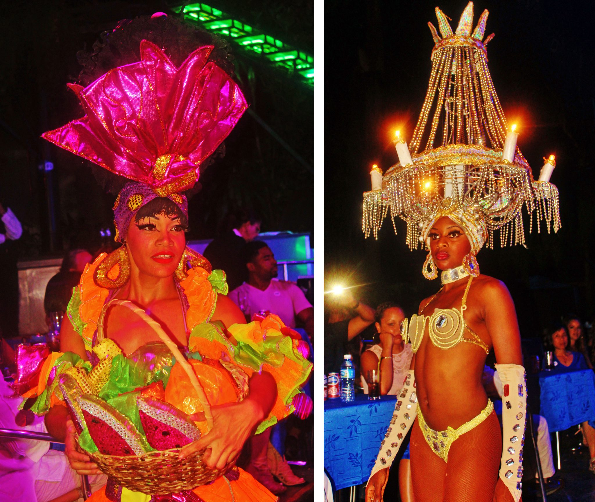 From XMAS bouquets and fruit baskets to chandeliers, the Tropicana dancers provided guests with an up-close-and-personal showcase of their exotic head wear and costumes.